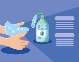 handen wassen met water en zeep vector