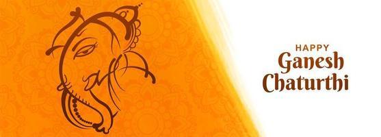lijntekening happy ganesh chaturthi indian festival banner