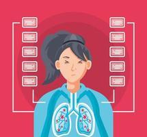 vrouw met de longen aangetast door een virus