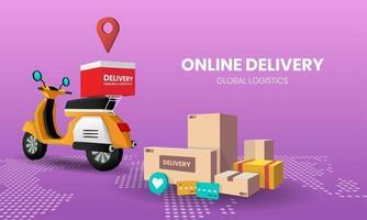 online winkelsjabloon voor het bezorgen van eten en pakketten vector