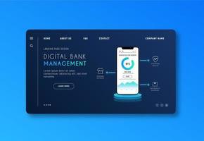 blauwe webpagina over bankieren en financieren vector