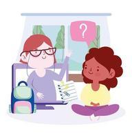 leraar en studentmeisje die via computer verbinden vector