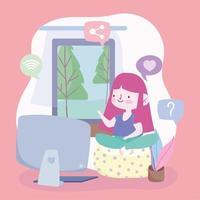 meisje op de computer thuis vector