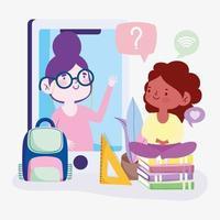 leraar en studentmeisje op smartphone online onderwijs vector