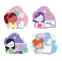 online onderwijs met studentmeisjes die elektronische apparaten gebruiken vector