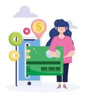 vrouw die online met creditcard op de mobiele telefoon betaalt