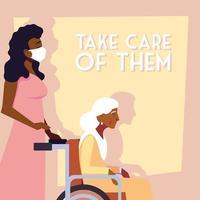 jonge vrouw die voor oude vrouw zorgt