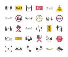 sociale afstandsverzameling van pictogrammen