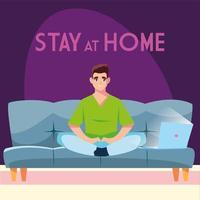 blijf thuis bewustzijn man verbinding maken met zijn laptop