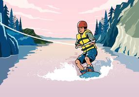 Jonge man die wakeboarding rijdt