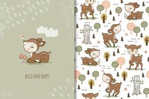 wild en gelukkig babyhert vector