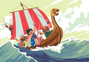 Viking Schip In Het Midden Een Storm Vector