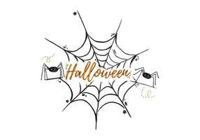 Spinweb Halloween Waterverf Vector