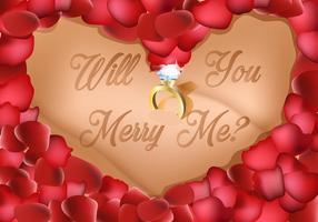 Liefde vorm van bloemblaadjes met ring in het midden bruiloft voorstel vector