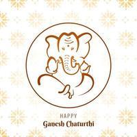 ganesh chaturthi cirkel frame festival kaart achtergrond vector