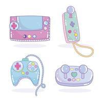 set van video game controllers en joysticks iconen