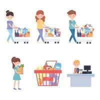 winkel klanten met winkelwagentjes, boodschappen en kassaset