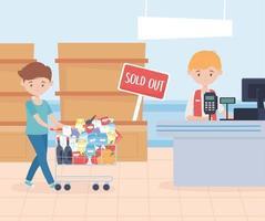 klant betaalt voor boodschappen