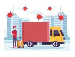 koerier met vrachtwagenbezorgservice met coronavirusdeeltjes