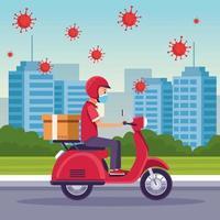 koerier in een motorfiets in bezorgdienst met covid 19 deeltjes