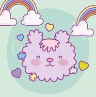 schattig harig dierengezicht met regenbogen