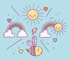 schattige vliegende bij met regenbogen en zon vector
