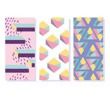Memphis abstract banners sjabloon met patronen vector