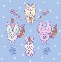 kawaii kat, konijn, eekhoorn en hond karakters