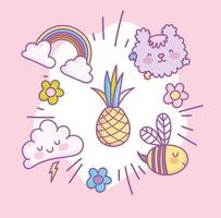 kawaii schattige pictogramserie vector