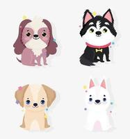 schattige kleine honden pictogramserie vector