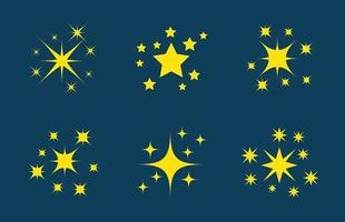 sterrencollectie op blauw vector