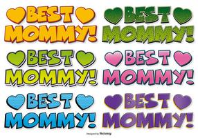 Beste Mama Comic Style Labels vector