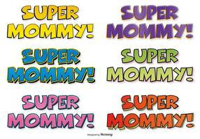 Super Mamma Comic Labels vector