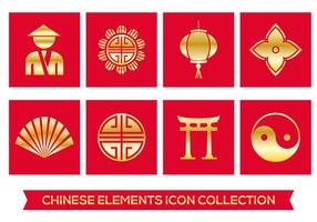 Chinese element iconen vector