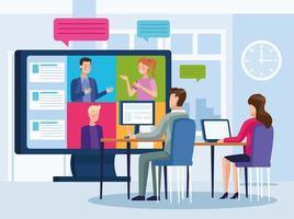 zakenmensen in onlinevergadering