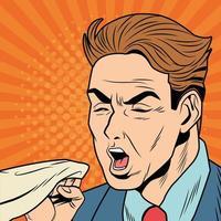 zieke man hoest vanwege de ziekte van Covid 19 in pop-artstijl