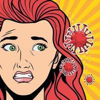 vrouw met covid 19-deeltjes in pop-artstijl