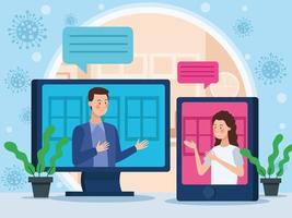 bedrijfspaar in online vergadering