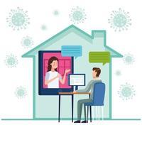 zakenpaar in een vergadering online