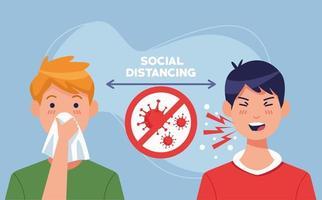 jonge mannen die ziek zijn met covid 19-symptomen op sociale afstand