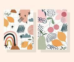 eigentijdse bloem, fruit en abstracte vormenbanner en kaartenset