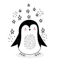 kleine pinguïn met sterren in schetsstijl
