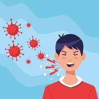 jonge zieke man hoesten met symptomen van het coronavirus