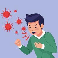 een jonge zieke man die hoest met covid 19 symptomen