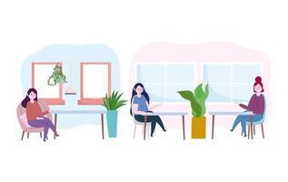 vrouwen binnenshuis sociaal afstandelijk icon pack