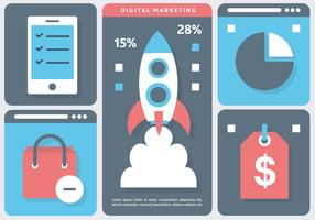 Rocket Marketing Vector Illustratie