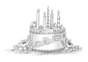 gelukkige verjaardag decoratieve cake met kaarsen lijn schets