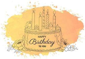 gelukkige verjaardag decoratieve cake met kaarsen schets