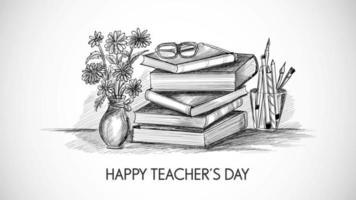 hand getrokken schets met samenstelling van de dag van de wereldleraar