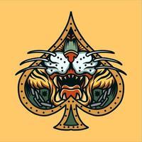 tijgergezicht in schoppenframe tatoeage vector